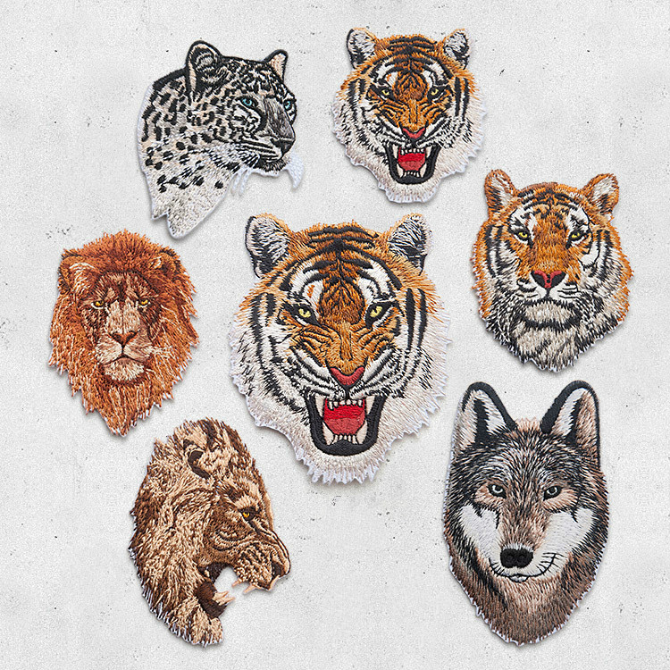 Leopard Tiger Lion Wolf Broderi Iron On Patches For Beklædning Applique DIY Hat Frakke Kjole Tilbehør Klud Sticker Animal