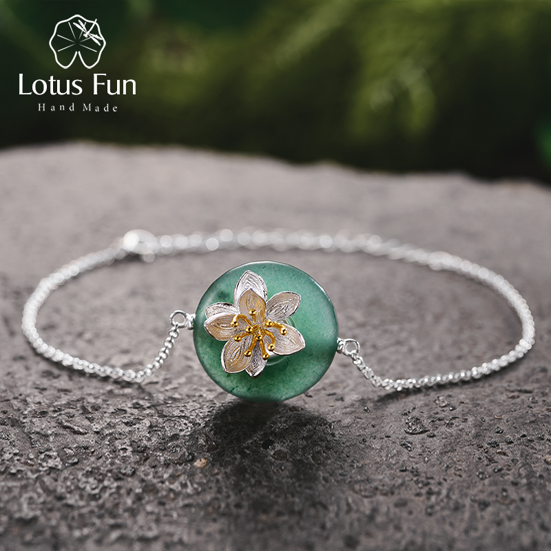 Lotus Fun Real 925 Sterling Silver Natural Stones Creative Handmade Fine Jewelry Lotus Whispers Bracelet for Women BrincosLotus Fun Real 925 Sterling Silver Natural Stones Creative Handmade Fine Jewelry Lotus Whispers Bracelet for Women Brincos