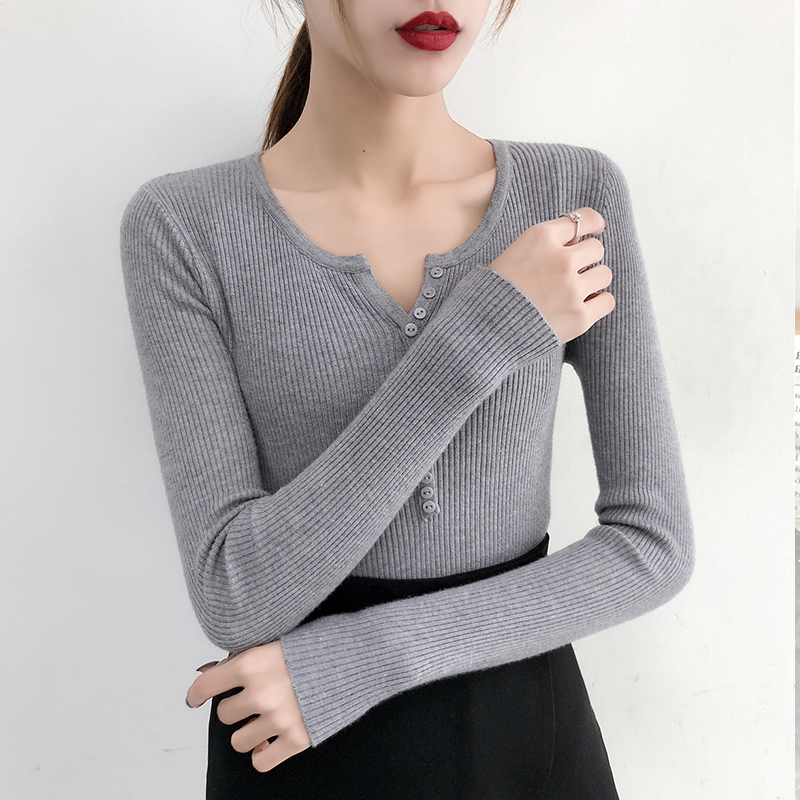 Gkfnmt Slim Sweater Pullovers Warm Tops V-Neck Long-Sleeve Sexy Korean Winter Button