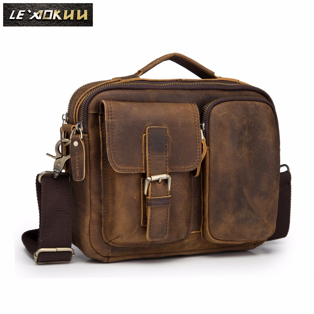 Quality Original Leather Design Male Shoulder Messenger Bag Cowhide Fashion Cross-body Bag 9