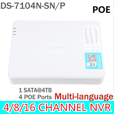 NVR POE 4CH HD mini IP 1080P CCTV digital network video recorder ds-7104n-sn/p 4 CH Channel ds-7104n ds-7104 ds sn original english version nvr ds 7104ni sn p 4ch mini nvr 4ch poe network video recorder hd 1080p nvr work well with h 265 ipc