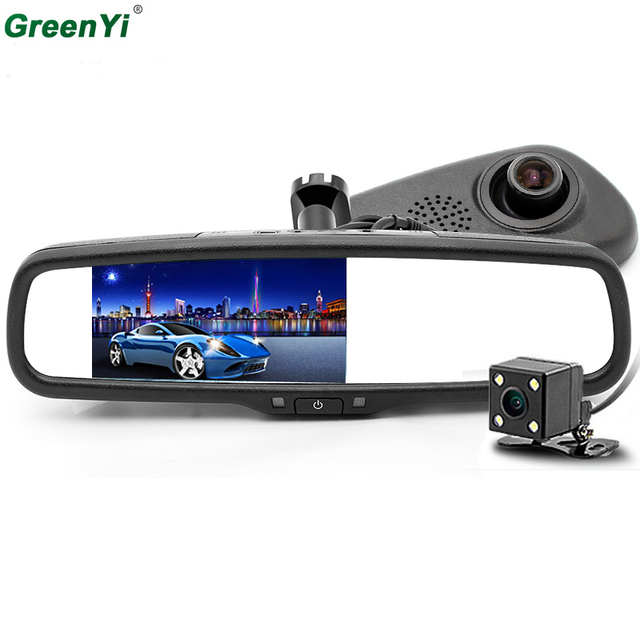 "GreenYi 800*480 5.0"" TFT LCD Full HD 1080P 170 Degree DVR Camera Car Bracket Rear View Parking Mirror Monitor DVR Video Recorder"