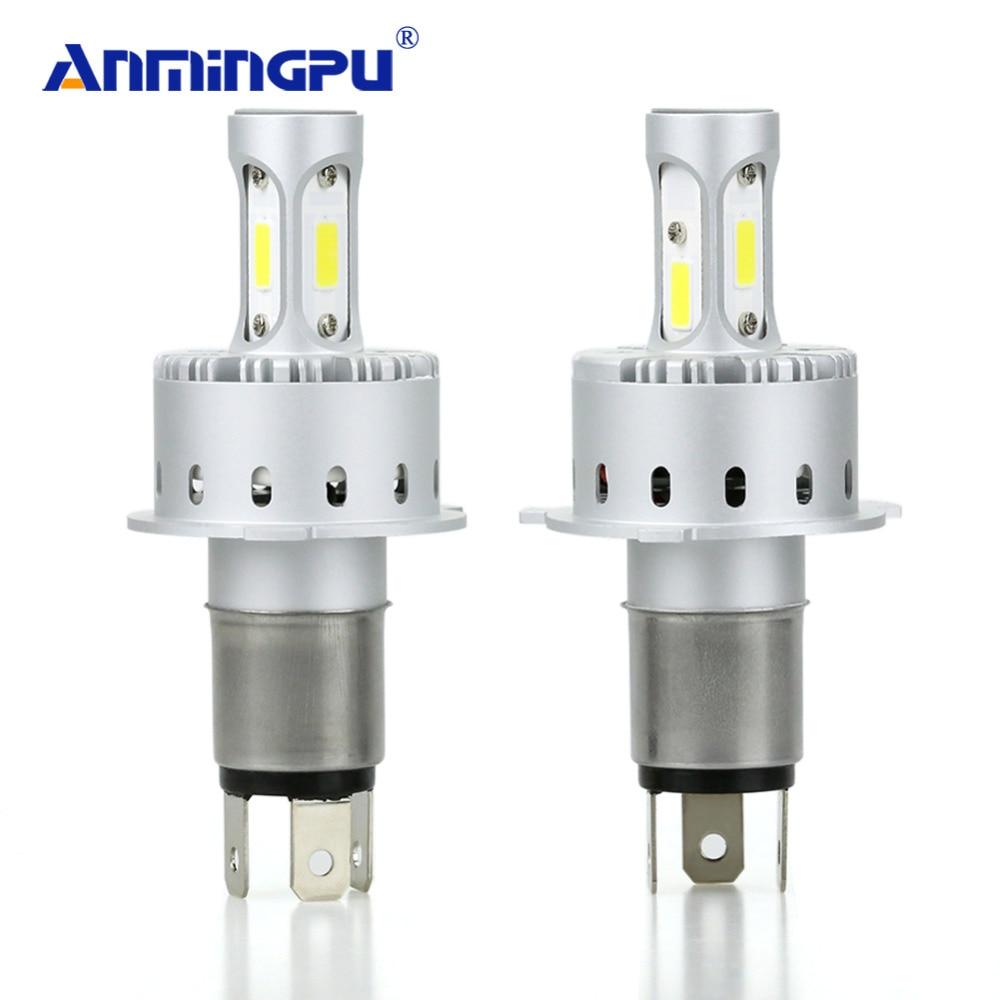 цена на ANMINGPU Headlight Bulbs Lampada Led H4 12000lm Set 12V COB Chips H4 Led Car Headlight Hi Low Beam 6500K Car Lamp Auto Bulb 2017