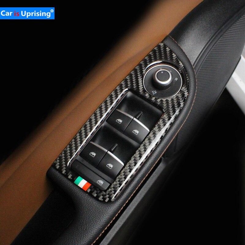 4Pcs Carbon Fibre Car Armrest Window Lift Button Switch