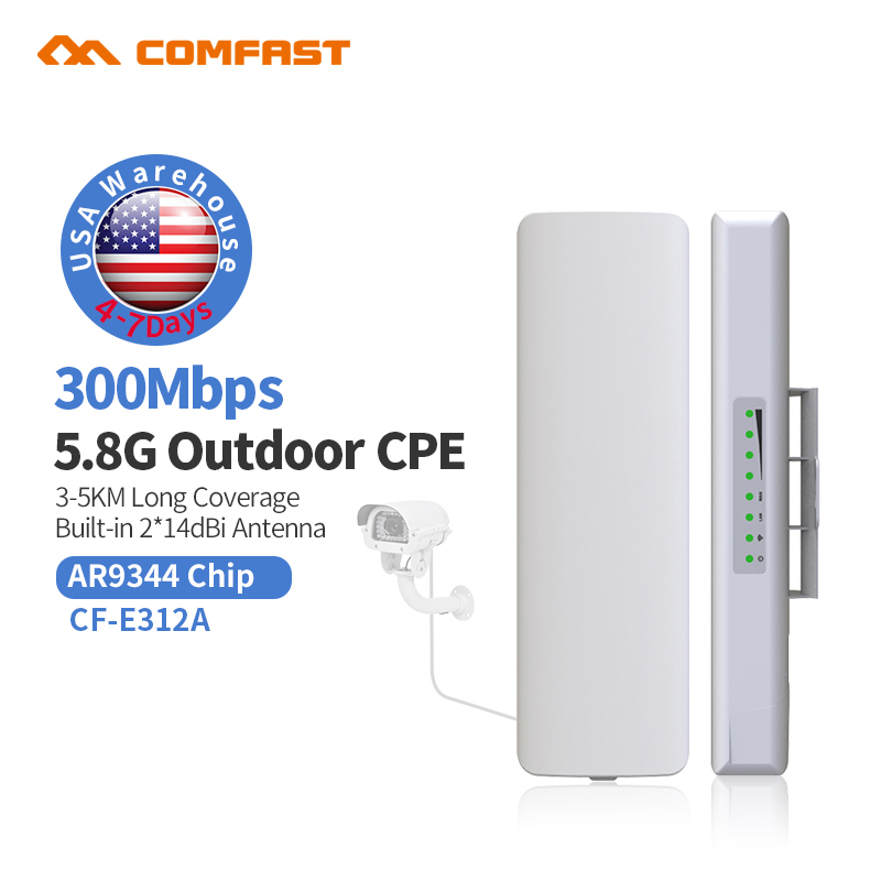 Outdoor Wireless access point Signal Amplifier Bridge 300Mbps Wi-Fi Range Extander 5.8G Repetidor Wifi 802.11N/AN Signal Booste comfast wireless outdoor router 5 8g 300mbps wifi signal booster amplifier network bridge antenna wi fi access point cf e312a
