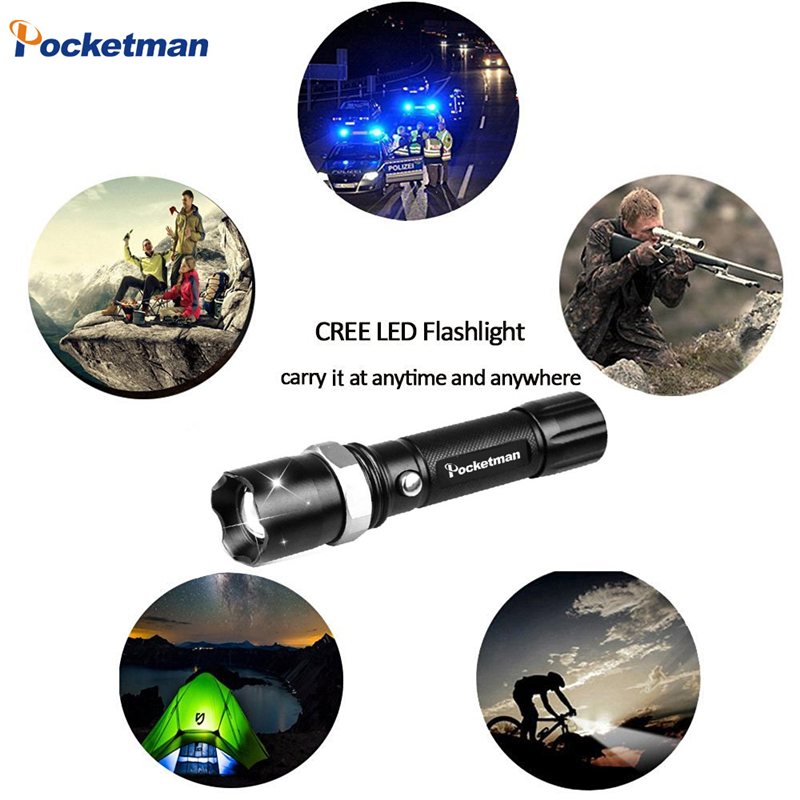 Купить с кэшбэком LED Flashlight XM-L T6 4000LM Aluminum Waterproof Zoomable flashlight Torch 5modes for 18650 Rechargeable Battery or AAA zk50