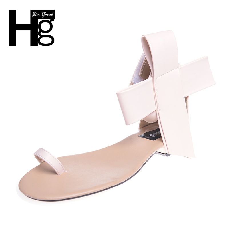 HEE GRAND Summer Flip Flops With Bowtie 2017 Gladiator Sandals Low Heel Shoes Woman Fashion  Elegant Women Shoes XWZ2207 hee grand gladiator sandals summer style flip flops elegant platform shoes woman pearl wedges sandals casual women shoes xwz1937