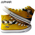 JUP Shoes Mens Puppies Despicable Me Pattern Fox Puppies Cat Fish Hand Painted Canvas Shoes for Men Males Couples High Top Style