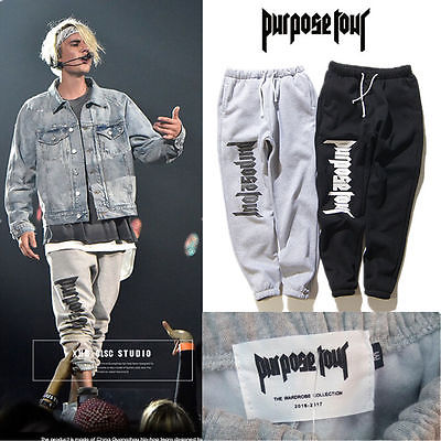 US Hot PURPOSE TOUR JB Justin Bieber Sweatpants Sport Jogger Baggy Trousers Pant