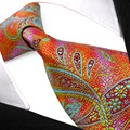 Orange paisley amarelo azul marinho verde multicolor laços dos homens gravatas 100% seda tecido jacquard atacado frete grátis