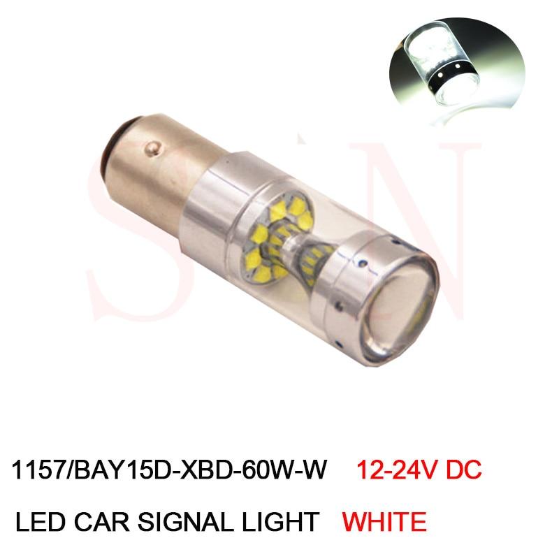 1Pcs 1157 P21/5W LED Bay15d S25 XBD 60W High Power Car LED Tail Brake Stop Parking DRL Light Bulb 12V 24V DC