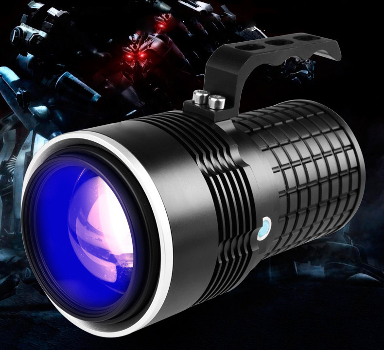 LED High Powerful Flashlight 8000LM Aluminum Torch Fishing Flash Light Lamp With 4 Lights(Blue/White/Yellow/Purple) white purple yellow light led flashlight stainless steel torch 18650 rechargeable uv torch olight jade identification