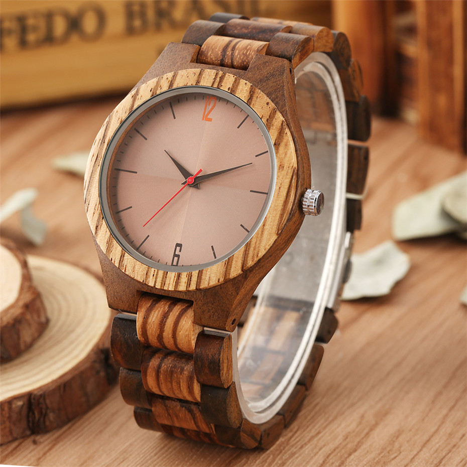 Reflective Surface Display Round Dial Wooden Watch Quartz Movement Natural Wood Bangle Men Watches Luxury Clock New Arrival 2019(China)