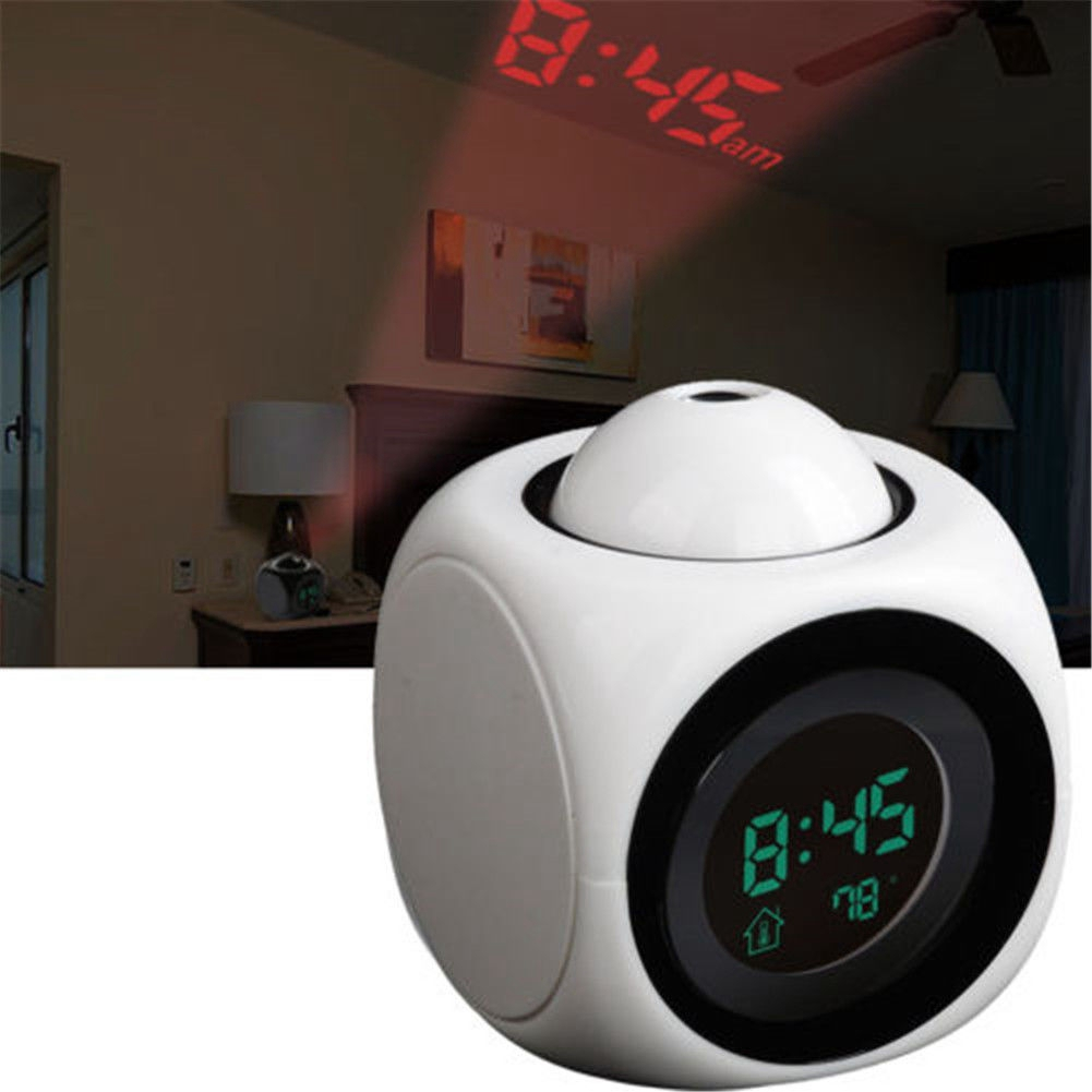 Litake Led Projection Night Light Home Decor Music Starry Star Sky Digital Clock Projector Alarm Clock Calendar Night Light