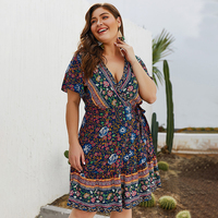 Plus size boho sexy floral print mini dress women big size Summer short sleeve holiday beach sundress cotton vestidos Dresses