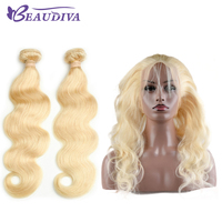 Beaudiva Brazilian Blonde Color Hair Wefts 2 Bundles with 360 Lace Frontal Closure Human Hair Blonde 613 Body Wave