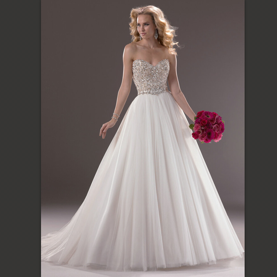 New Vintage Princess Ball Gown Wedding Dresses Beaded: Hot Sale Beaded Sweetheart Sexy Open Back Ivory Tulle