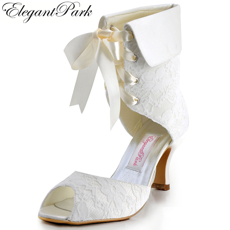 Women's Boots EP11055 Peep Toe Lace up Mid Heel Wedding Shoes Mid-Calf Lady Woman bridal prom party pumps ivory white double buckle cross straps mid calf boots