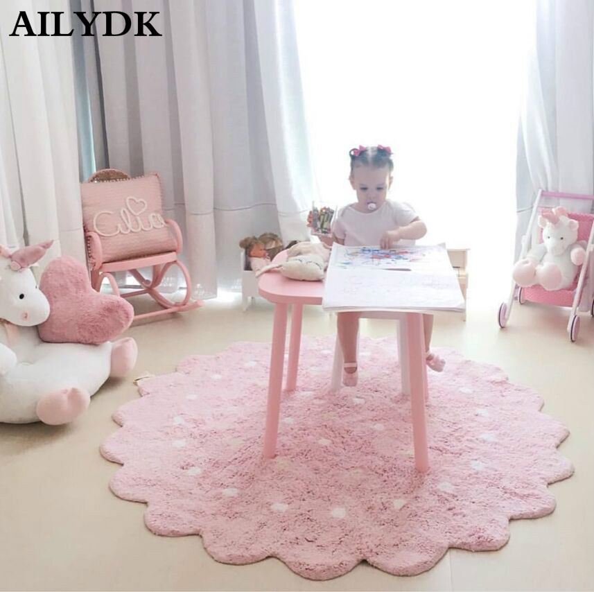 Nordique bébé ramper tapis enfants filles chambre décor tapis de sol rond jouer tapis Gym activité jeu tapis et tapis pour salon
