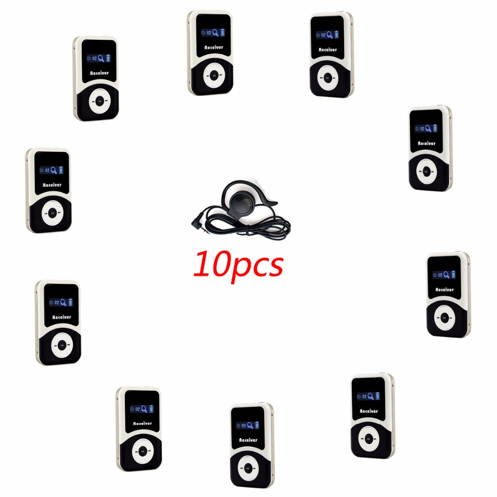 ANDERS Wireless Tour Guide System 10pcs Receiver+10pcs Earpiece for Tour Guiding Simultaneous Translation Interpretation F4505 anders wireless tour guide system 1 transmitter 2 receiver for tour guiding simultaneous translation interpretation system f4506