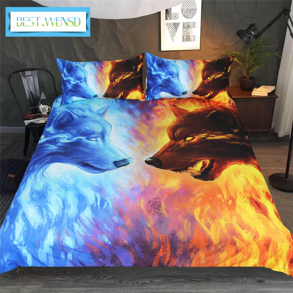 3D blue yellow Lovers Wolf Wolves Bedding Set Twin Full Quee king Bed Set 3pcs Duvet