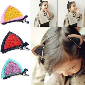 New Kids Hair Accessories Lovely Baby Girls Cat Ears Hairpins Sequins Hair Clip image