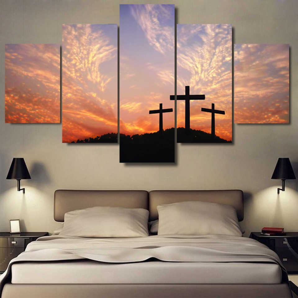 絵画モジュラー絵5 pieces/pcsクリスチャンクロス日没キャンバス壁アートホーム装飾のためのリビングルーム現代印刷