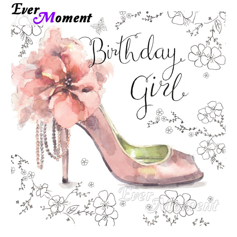 Ever Moment Diamond Painting High Heels Birthday Full Square Drill Picture Mosaic Diamond Embroidery Needlework 5D DIY S2F743