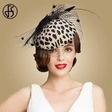 FS Fascinators czarny kaszkiet Leopard z welonem 100% włóczka australijska filcowe kapelusze ślubne kobiety opaska vintage Cocktail Fedoras