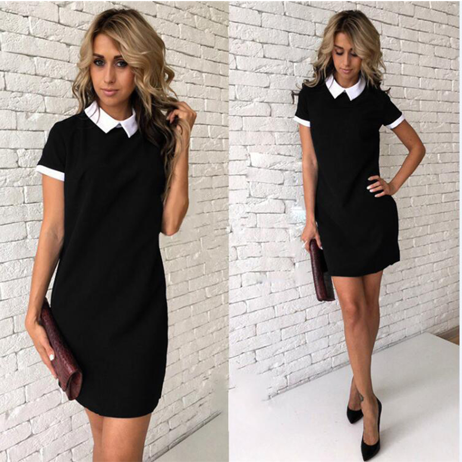 Solid Colorblock Turn-Down Collar Mini Dresses Women Summer Breathable Chiffon Casual A-Line Dress Popular Sexy Peter Pan Collar