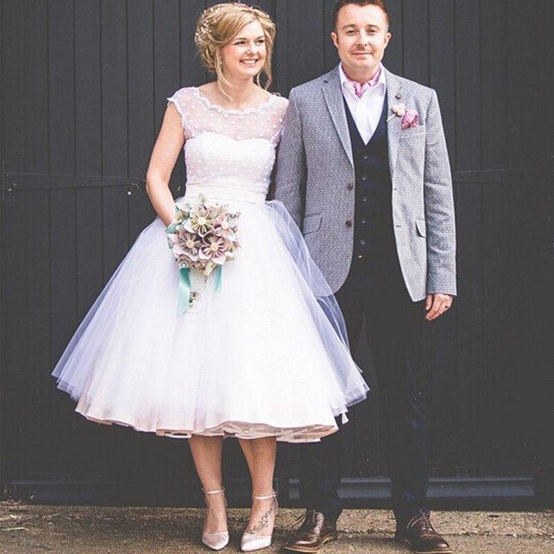 Retro Polka Dotted Short Wedding Dress 2017 Tea Length Little White ...