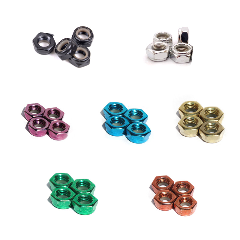 4pcs Skateboard Truck Side Nut Skateboard Bridge Side Nut Electric Long Board Colorful Nut Parts