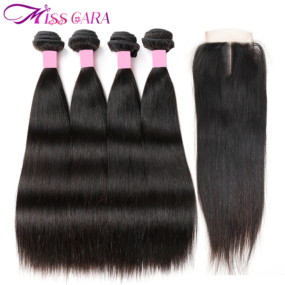 Peruvian Straight Hair 4 Bundles With Closure 100% Human Hair Bundles With Closure 4*4 Middle/Free Part Closure Miss Cara Remy