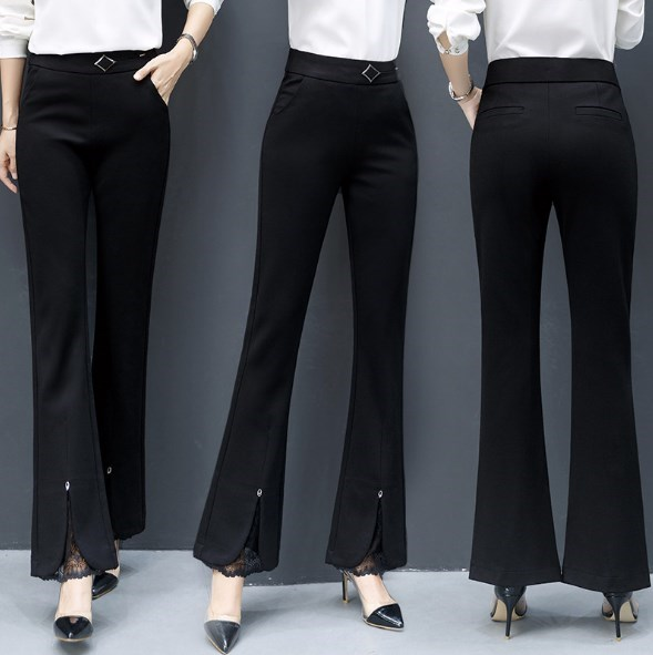 2019 Spring Autumn Woman Black Slim Flare Trousers Women Office Formal Flared Pants Women Front Split High Waist Pants