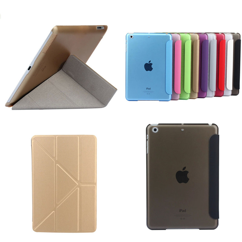 TLP-BX Ultrathin PU Leather Case For iPad Mini 1 2 3 retina 7.9 Stand Plastic Back Color Transparent Smart Cover Protective