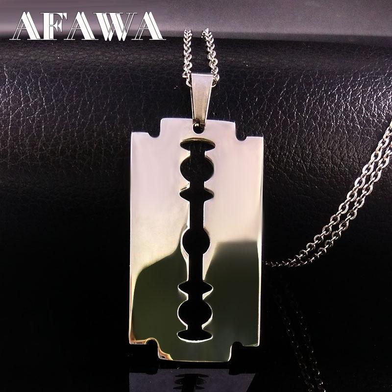 Cool en acier inoxydable lames de rasoir pendentif colliers hommes bijoux en acier mâle rasoir forme colliers et pendentifs chaîne libre N423S01