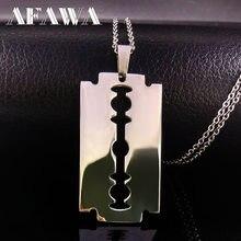 Colliers avec pendentifs en acier inoxydable pour hommes, bijoux en forme de rasoir, chaîne libre, N423S01