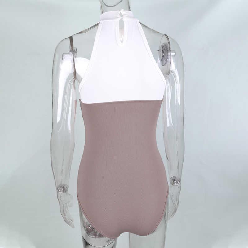 Evenworse 2019 zomer bodysuits vrouwen O-hals off schouder mouwloze body slim jumpsuit stiksels nieuwe mode streetwear