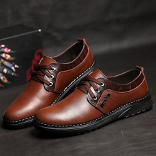 Spring New 2017 Luxury Brand Split Leather Business Men Dress Shoes Adult Lace-up Oxford Shoes Casual Men Solid  Flats Shoes