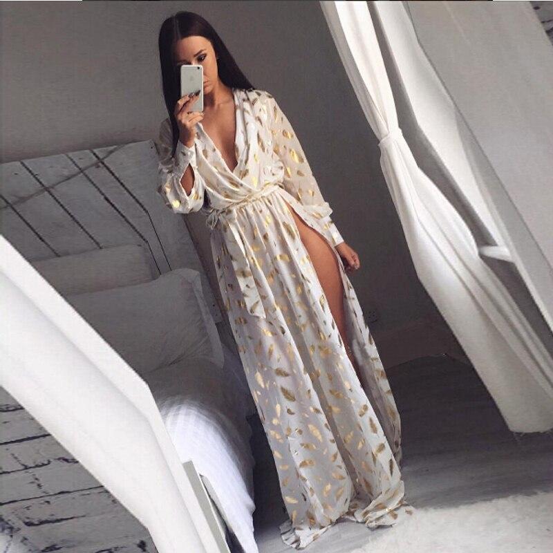 Automne hiver longue robe pour les femmes mode côté ouvert imprimé plumes d'or manches longues robe robe de soirée blanc QM03