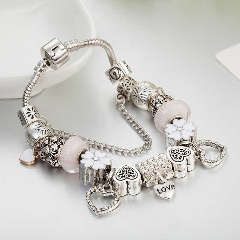ANNAPAER, новинка 2019, сделай сам, Цветочный браслет с цепочкой в виде змеи, брендовый браслет с кулоном сердце для женщин, ювелирное изделие, подарок B16098