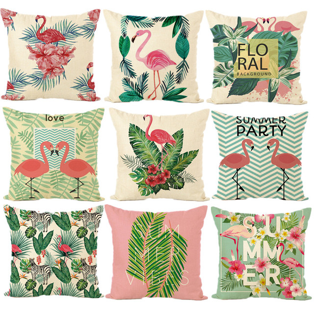 coussin tropical Nordique Animal Housse de Coussin Tropical Flamingo Coton Linge  coussin tropical