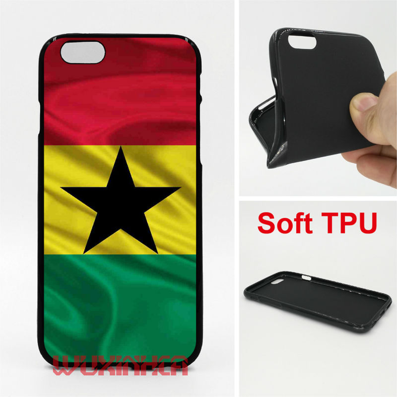 Ghana Flag Phone Case Soft TPU For iPhone 6 7 Plus SE 5S 4S Touch 6 For Samsung S8 Plus S7 S6 Edge S5 S4 Note 5 2016 A3 A5 A3 J5