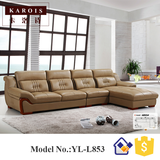 Modern Heated Top Leather Simple Design L Shape Sectional Sofa