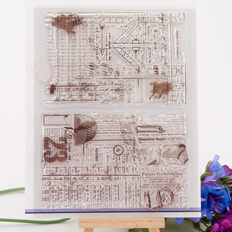 Clear stamp Scrapbook Brown retro background DIY Photo Album Paper Card Hand Account Rubber Product Transparent Seal Stamps scrapbook diy photo album account transparent silicone rubber clear stamps 20x28 5cm big size wedding