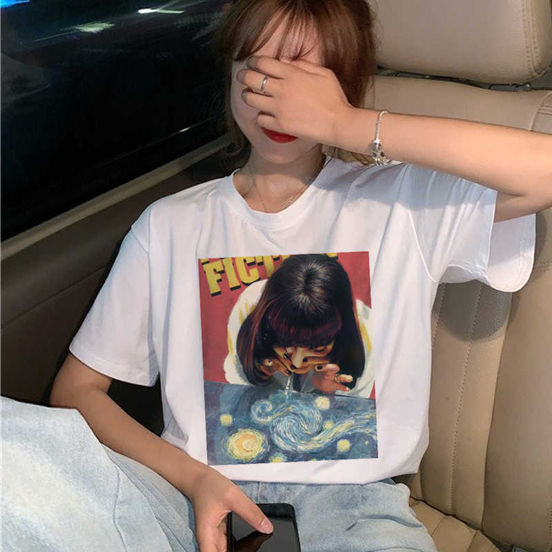 New Pulp Fiction Movie T Shirt Women Harajuku Ullzang 90s Korean T-shirt Aesthetic Funny Print Tshirt Graphic Top Tees Female