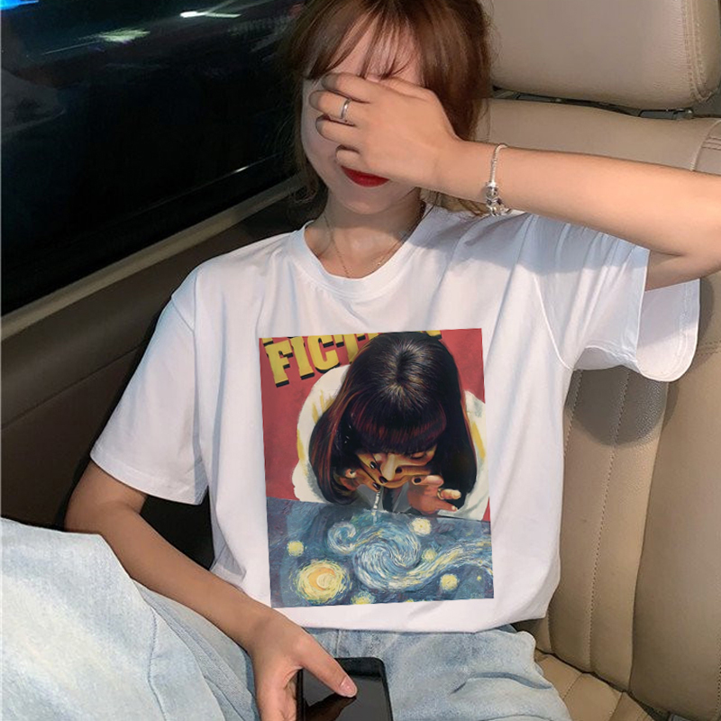 New Pulp Fiction Movie   T     Shirt   Women Harajuku Ullzang 90s Korean   T  -  shirt   Aesthetic Funny Print Tshirt Graphic Top Tees Female