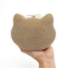2016 neue Berühmte Marke Frauen Bankett Gold Nette Katzen Abend Kupplung Handtasche Diamanten Festschminktäschchen Handtasche Metall Kupplungen