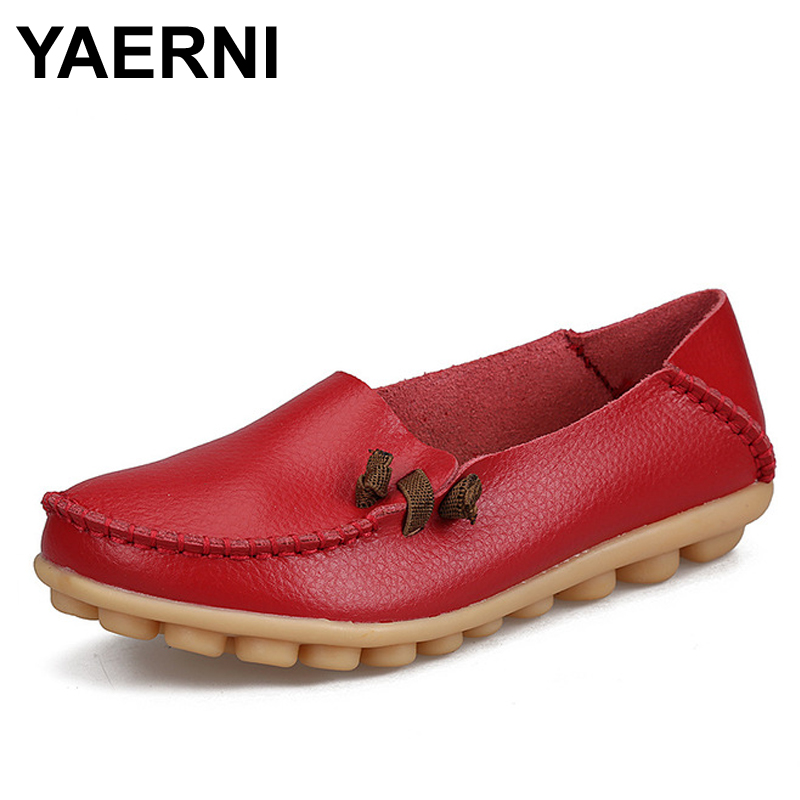 YAERNI  2017 Women's Shoes Genuine Leather Woman Casual Flats Mother Loafers Female Driving Footwear Boat Shoe Solid women s shoes autunm winter fur loafers genuine leather ladies warm plush driving boat moccasins casual female solid flats shoe