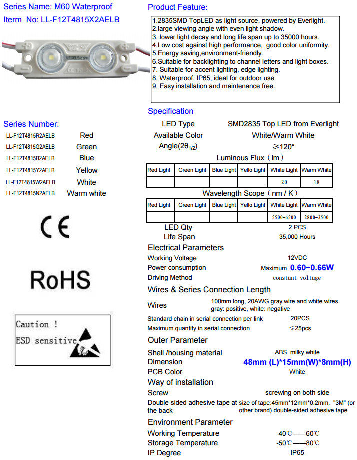 Smd 2835 Injection Led Module For Channal Letter Lighting Waterproof